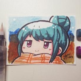 Watercolour and Marker Shima Rin - Yuru Camp - [March 25, 2018]