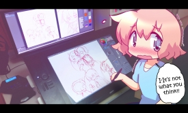 Yogurt At Her Computer [September 17, 2014]